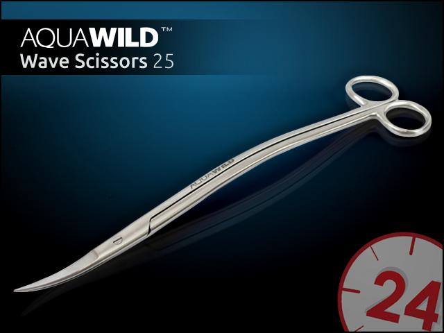 AQUAWILD WAVE SCISSORS 25 - Nożyczki w kształcie fali do akwarium z wysokiej jakości stali nierdzewnej.