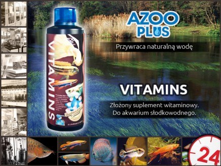 AZOO PLUS Vitamins 120ml - Z�o�ony suplement witaminowy z glukanem do akwarium s�odkowodnego.