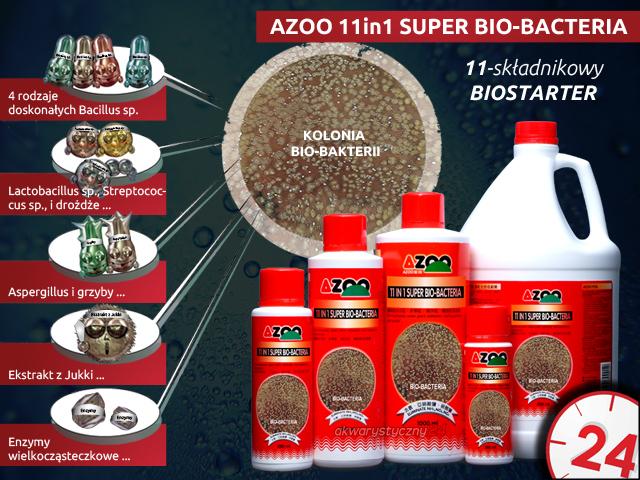 AZOO 11in1 SUPER BIO-BACTERIA 120ml - Wielozadaniowy preparat bakteryjny (biostarter), naturalnie rozkłada związki organiczne, amoniak(NH3), azotyny
