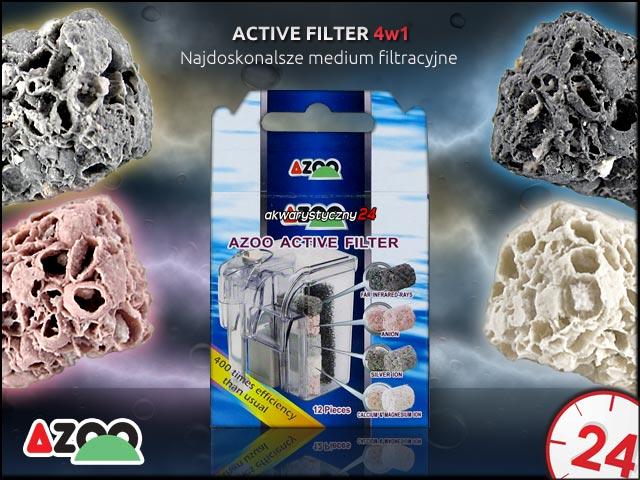 AZOO ACTIVE FILTER 4in1 (12 sztuk)   Biologiczny wkład do filtra w akwarium o szerokim spektrum działania