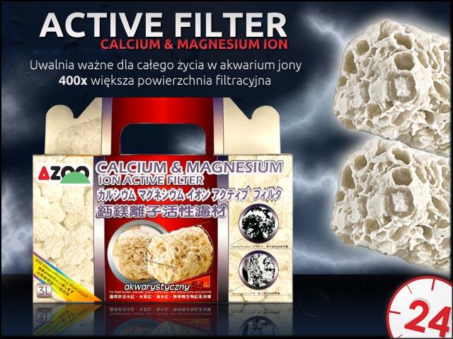 AZOO ACTIVE FILTER Calcium & Magnesium Ion (gruby) 3l - Potężny wkład biologiczny, przy czym uwalnia korzystne jony pierwiastków śladowych do