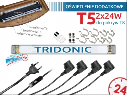 Oświetlenie dodatkowe T5 2x24W do pokrywy 60-80cm