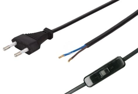 Przewód (kabel) zasilający 2-żyłowy 1,8m - Posiada włącznik i wtyczkę