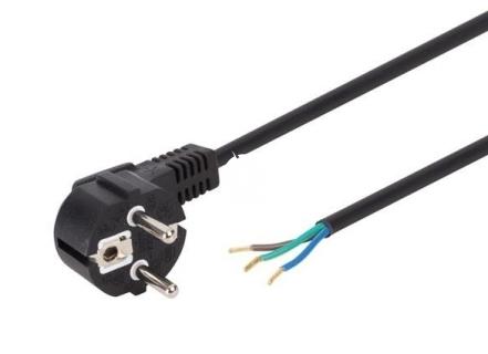 Przewód (kabel) zasilający 3-żyłowy 2m - Kabel wraz z wtyczką