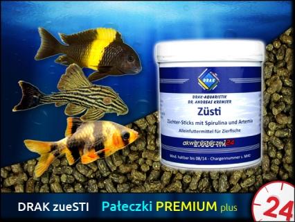 DRAK-aquaristik zueSTI, Puszka 250ml - Tonący pokarm w formie pałeczek wzrostu ze spiruliną i artemią dla ryb tropikalnych, zwłaszcza roślinożernych.