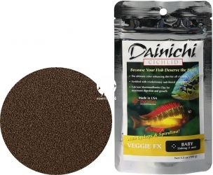 DAINICHI Cichlid Veggie FX Sinking (12501) - Pokarm dla pielęgnic roślinożernych silnie wzbogacony w 6 składników wybarwiających