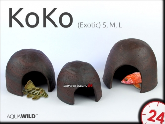 AQUAWILD KoKo (Exotic) (CKE0MU) - Ceramiczny kokos dla większych pielęgnic, sumów, zbrojników