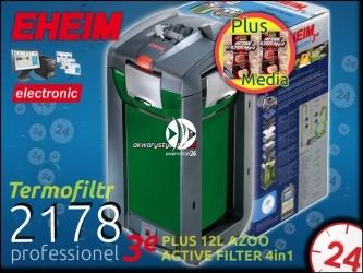 EHEIM PROFESSIONEL 3e 2178 + 8L AZOO ACTIVE FILTER 4in1 - Elektroniczny filtr zewnętrzny z grzałką do akwarium 300-600l