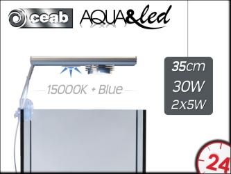 CEAB Aqua&Led 1x30W+2x5W 15000K+Blue - Oświetlenie Led do akwarium rafowego i słodkowodnego