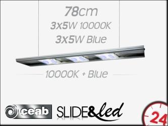 CEAB SLIDE&Led 10000K+Blue 3X5W+3X5W 78cm (SLMD80) - Energooszczędne, modułowe oświetlenie Led do akwarium morskiego i słodkowodnego.