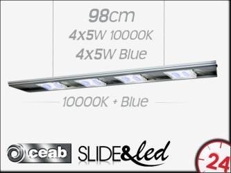 CEAB SLIDE&Led 10000K+Blue 4X5W+4X5W 98cm (SLMD100) | Energooszczędne, modułowe oświetlenie Led do akwarium morskiego i słodkowodnego.