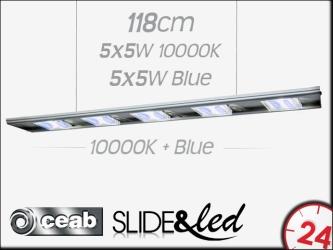 CEAB SLIDE&Led 10000K+Blue 5X5W+5X5W 118cm (SLMD120) - Energooszczędne, modułowe oświetlenie Led do akwarium morskiego i słodkowodnego.
