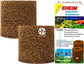 EHEIM Gąbki PhosphateOut (2638080) - Wkład gąbkowy 2szt., usuwający fosforany do filtra aquaball 60/130/180, biopower 160/200/240 i prefiltra 40