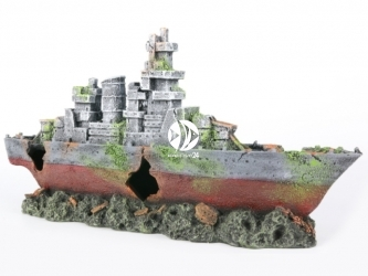 AQUA DELLA Abandoned amoco (234-444504) - Ręcznie malowany wrak statku, okręt wojenny do akwarium [wymiary - 39x10x20cm]