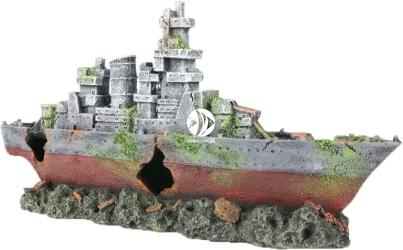AQUA DELLA Amoco (234-444504) - Ręcznie malowany wrak statku, okręt wojenny do akwarium o wymiarach
