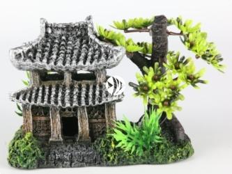 AQUA DELLA Asian house with plants (234-411254) - Ręcznie malowany dom azjatycki do akwarium [wymiary - 14x9x10cm]