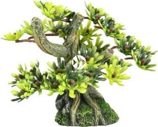 AQUA DELLA Bonsai Mini Sort C (234-420881) - Ręcznie malowany drzewo bonsai z liśćmi do akwarium 9,5cm