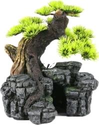 AQUA DELLA Bonsai SM (234-105337) - Ręcznie malowany drzewo bonsai z igiełkami do akwarium (wymiary: 16,5x16,5x18cm)