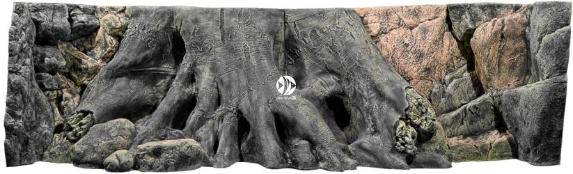 Back To Nature Amazonas (03000007) - Tło strukturalne z motywami drewna i skał do akwarium