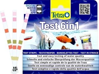TETRA Test 6in1 25 szt. (T175488) - Zestaw 25 testów paskowych do akwarium słodkowodnego.