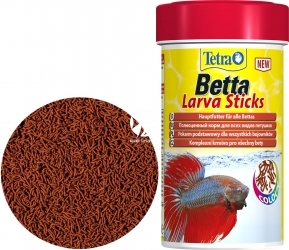 TETRA Betta Larva Sticks 100 ml (T259386) - Pływający pokarm dla bojowników w kształcie pałeczek imitujących larwy owadów.