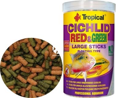 TROPICAL Cichlid Red & Green Sticks - Pływające pałeczki ze spiruliną i astaksantyną dla średnich pielęgnic