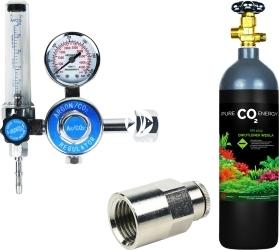 Zestaw - Butla CO2 2L z Reduktorem z Szybkozłączką na Wąż - Zawiera: butla CO2 2L, reduktor z rotametrem, złączka metalowa 1/4