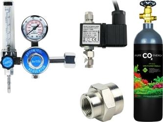 Zestaw - Butla CO2 2L z Reduktorem z Elektrozaworem - Zawiera: butla CO2 2L, reduktor z rotametrem, elektrozawór, złączka metalowa 14W18W, taśma teflonowa