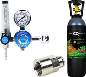 Zestaw - Butla CO2 5L z Reduktorem z Szybkozłączką na Wąż - Zawiera: butla CO2 5L, reduktor z rotametrem, złączka metalowa 1/4