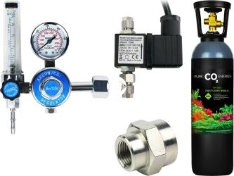 Zestaw - Butla CO2 5L z Reduktorem z Elektrozaworem - Zawiera: butla CO2 5L, reduktor z rotametrem, elektrozawór, złączka metalowa 14W18W, taśma teflonowa