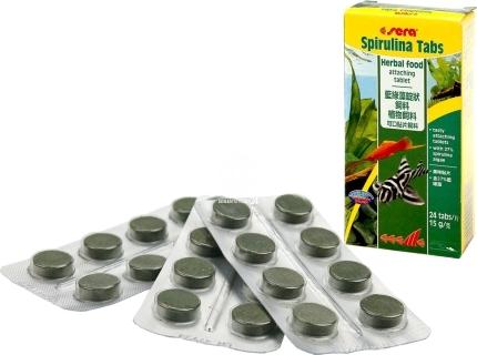 SERA Spirulina Tabs 24 tabletki (00920) - Pokarm dla ryb akwariowych z dużą zawartością spiruliny w tabletkach
