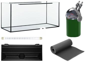 Zestaw Akwariowy 160l LED + Filtr - Zawiera: akwarium, pokrywa z oświetleniem LED, podkładka, filtr
