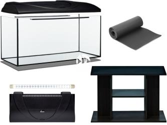 Zestaw Akwariowy 126l LED + Szafka - Zawiera: akwarium, pokrywa z oświetleniem LED, podkładka, szafka