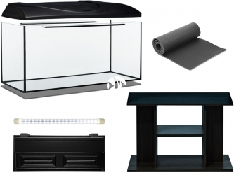 Zestaw Akwariowy 200l LED + Szafka - Zawiera: akwarium, pokrywa z oświetleniem LED, podkładka, szafka