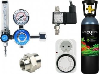 Zestaw - Butla CO2 5L z Reduktorem z Elektrozaworem i Programatorem Mechanicznym - Zawiera: butla CO2 5L, reduktor z rotametrem, elektrozawór, programator mechaniczny, złączka metalowa 14W18W, taśma teflonowa