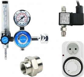 Zestaw - Reduktor z Elektrozaworem BMV i Programatorem Mechanicznym - Zawiera: reduktor z rotametrem, elektrozawór, programator mechaniczny, złączka metalowa 14W18W, taśma teflonowa