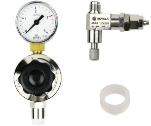 ROTALA Zestaw CO2 do akwarium nr. 13 - Zawiera: Reduktor z jednym manometrem, zaworek precyzyjny z zaworem zwrotnym, uszczelka