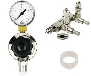 ROTALA Zestaw CO2 do akwarium nr. 17 - Zawiera: Reduktor z jednym manometrem, zaworek precyzyjny dwu-wyjściowy z zaworem zwrotnym, 2x uszczelka