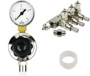 ROTALA Zestaw CO2 do akwarium nr. 19 - Zawiera: Reduktor z jednym manometrem, zaworek precyzyjny trzy-wyjściowy, 2x uszczelka