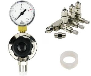 ROTALA Zestaw CO2 do akwarium nr. 21 - Zawiera: Reduktor z jednym manometrem, zaworek precyzyjny trzy-wyjściowy z zaworem zwrotnym, 2x uszczelka
