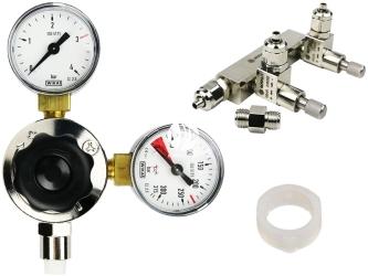 ROTALA Zestaw - Reduktor CO2 + Zaworek Precyzyjny dwu-wyjściowy - Zawiera: Reduktor z dwoma manometrami, zaworek precyzyjny dwu-wyjściowy, 2x uszczelka