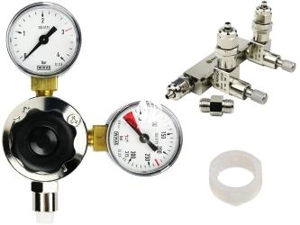 ROTALA Zestaw CO2 do akwarium nr. 18 - Zawiera: Reduktor z dwoma manometrami, zaworek precyzyjny dwu-wyjściowy z zaworem zwrotnym, 2x uszczelka