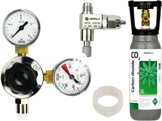 ROTALA Zestaw CO2 do akwarium nr. 24 - Zawiera: Butla 2L, reduktor z dwoma manometrami, zaworek precyzyjny, uszczelka