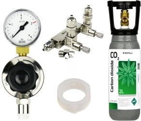 ROTALA Zestaw CO2 do akwarium nr. 29 - Zawiera: Butla 2L, reduktor z jednym manometrem, zaworek precyzyjny dwu-wyjściowy z zaworem zwrotnym, 2x uszczelka