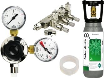 ROTALA Zestaw CO2 do akwarium nr. 32 - Zawiera: Butla 2L, reduktor z dwoma manometrami, zaworek precyzyjny trzy-wyjściowy, 2x uszczelka