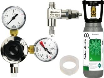 ROTALA Zestaw CO2 do akwarium nr. 26 - Zawiera: Butla 2L, reduktor z dwoma manometrami, zaworek precyzyjny z zaworem zwrotnym, uszczelka