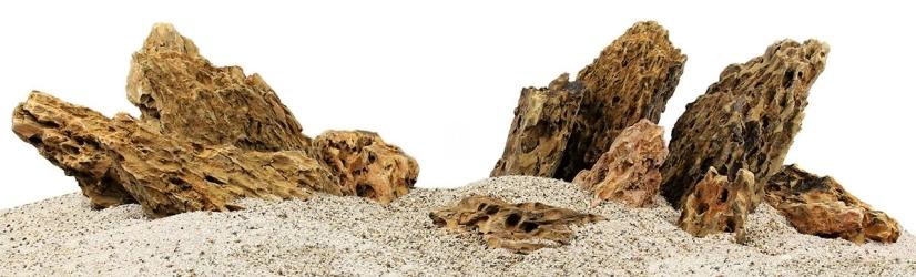 Zestaw Skał do Akwarium Roślinnego 150cm (nr. 20) - Zawiera skały premium dragon stone o wymiarach: 5 - 15cm (3kg), 15 - 25cm (10kg), powyżej 25cm (22kg)