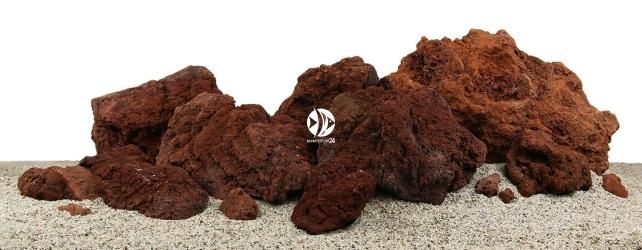 Zestaw Skał do Akwarium Roślinnego 120cm (nr. 13) - Zawiera - lawa czerwona o wymiarach: 11 - 20cm (3kg), 21 - 30cm (12kg), powyżej 30cm (20kg)