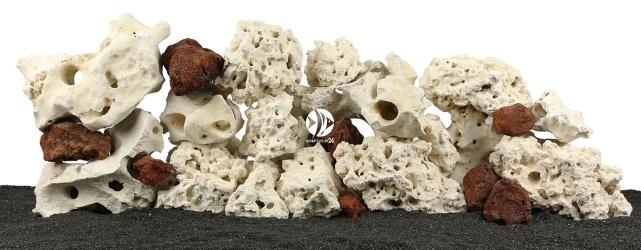 Zestaw Skał do Akwarium Malawi/Morskie 120cm (nr. 43) - Zawiera skałę koralową o wymiarach: 5 - 15cm (3kg), 15 - 25cm (7kg), powyżej 25cm (4kg) oraz wapień filipiński: 5 - 15cm (5kg), 15 - 25cm (13kg), powyżej 25cm (10kg) oraz lawę czerwoną 5 - 15cm (2kg)
