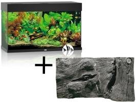 Rio 125 HeliaLux Spectrum Czarny + Tło Orinoco Juwel - Zawiera: akwarium z pełnym wyposażeniem, tło strukturalne